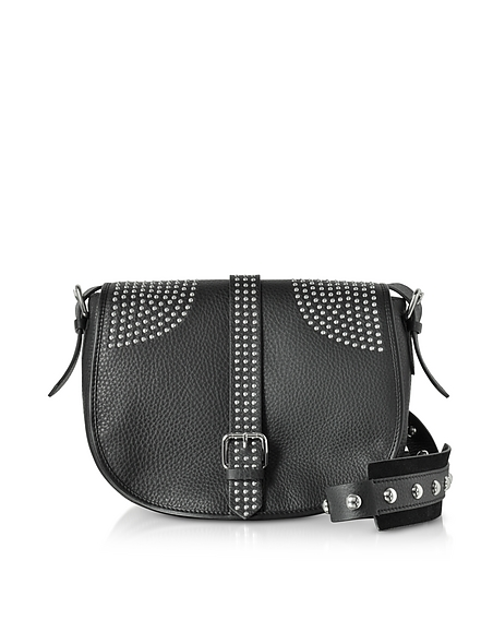 RED VALENTINO Black Grained Leather Shoulder Bag w Studs