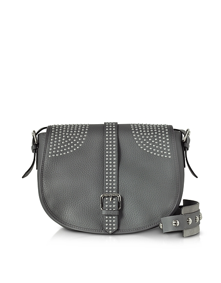 RED VALENTINO Anthracite Grained Leather Shoulder Bag w Studs