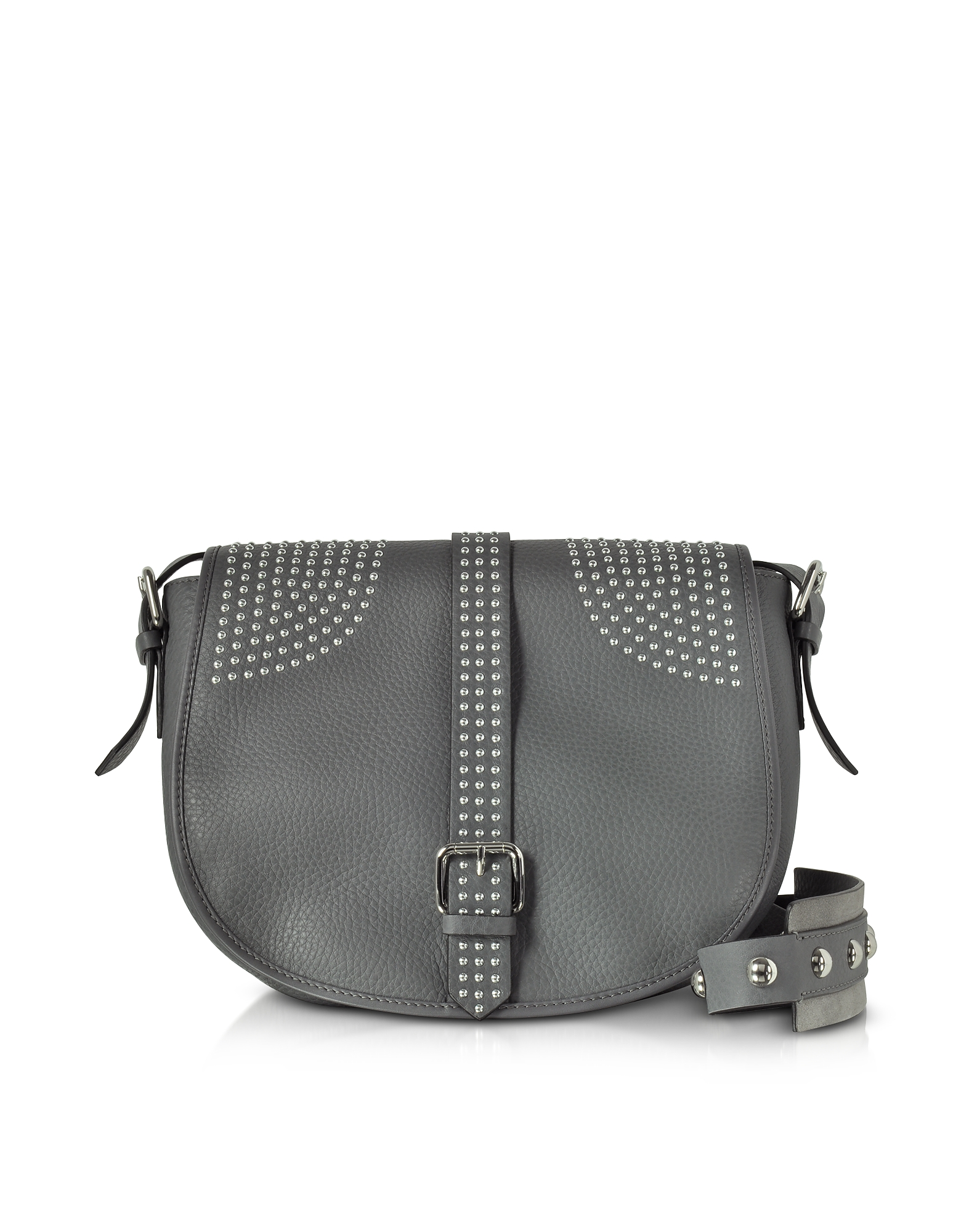 RED Valentino Anthracite Grained Leather Shoulder Bag w Studs 3fb5ac45b8701