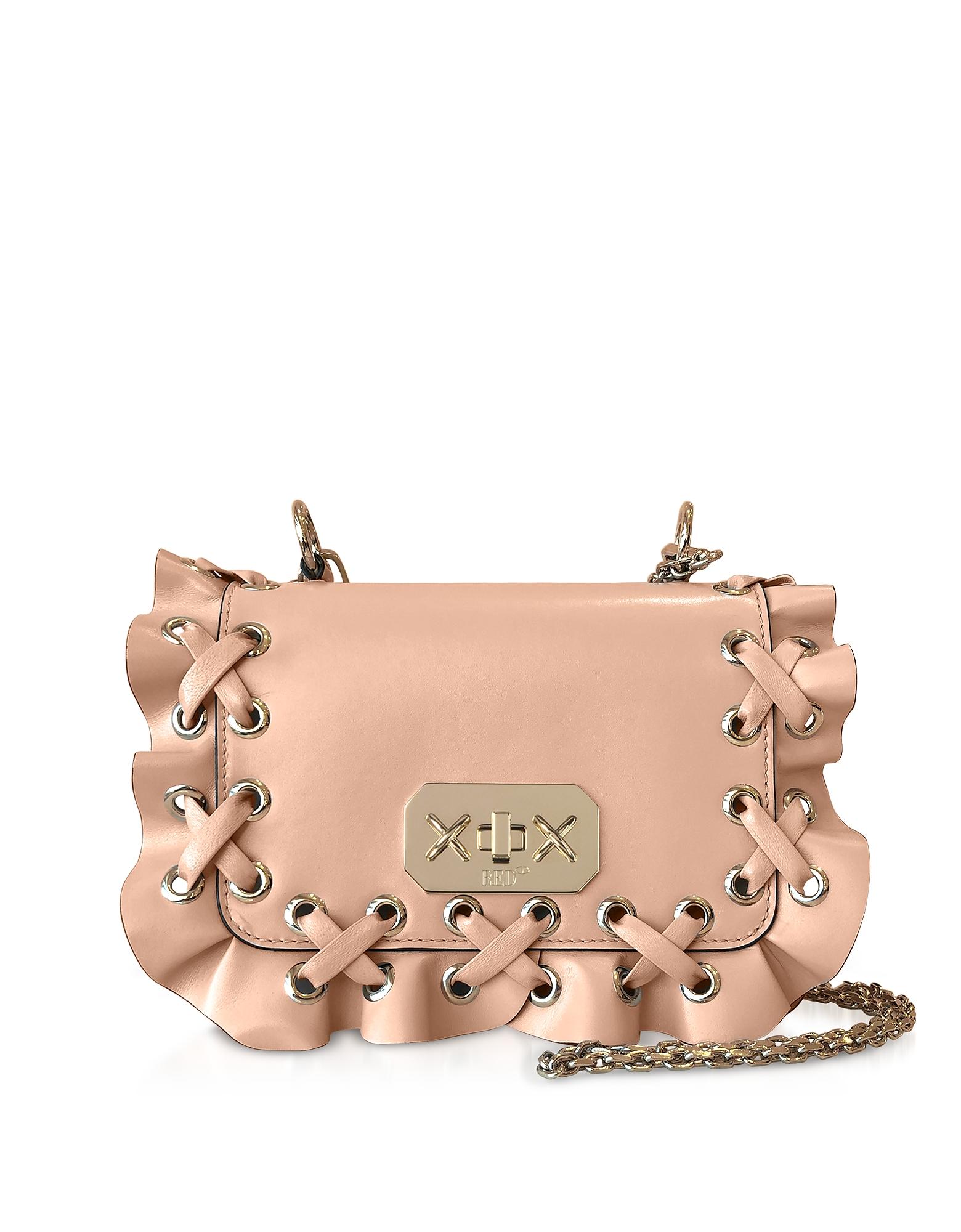 REDVALENTINO   RED Valentino Designer Handbags, Skin Leather Rock Ruffle Bag   Goxip