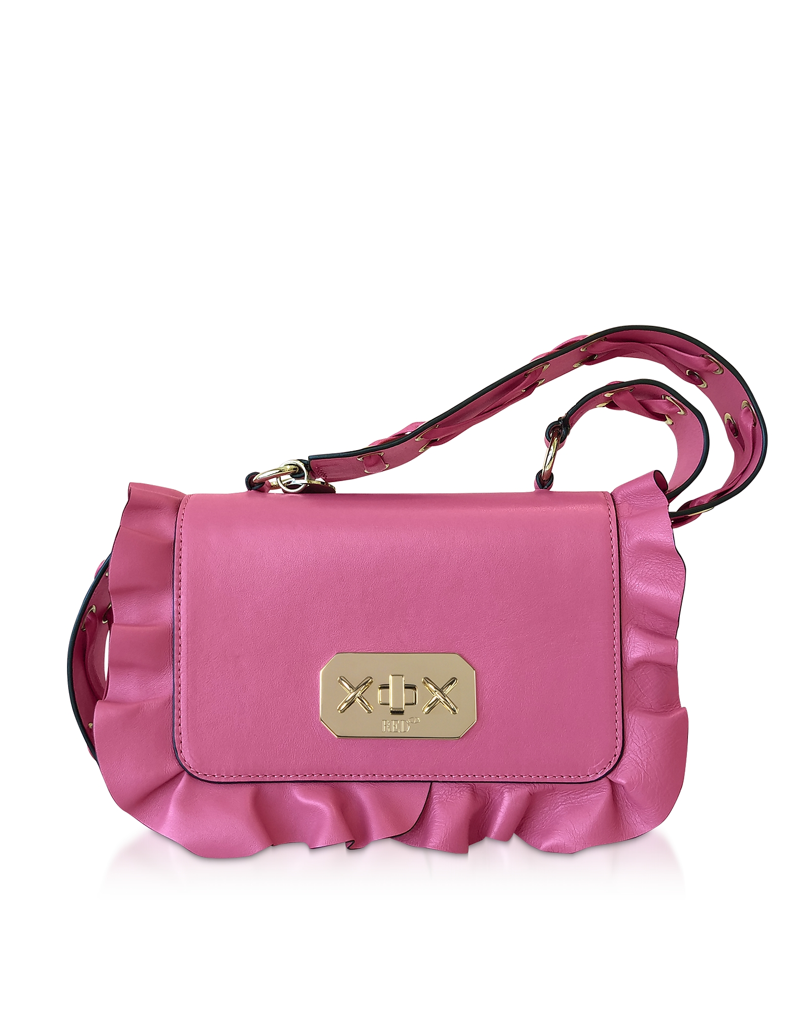 Pink Sunrise Leather Rock Ruffle Crossbody Bag