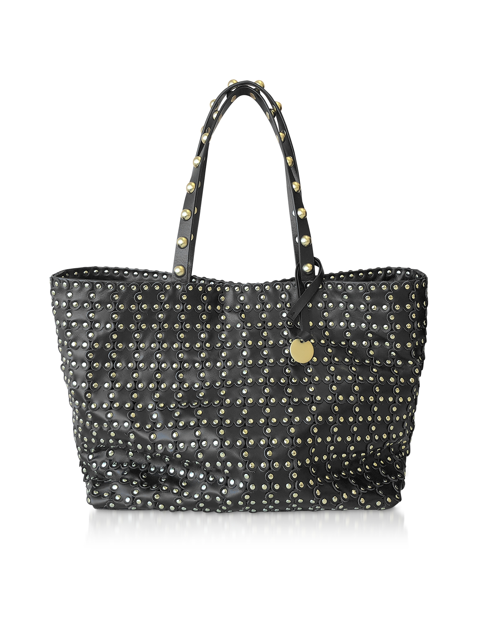Flower Puzzle Black Leather Tote Bag
