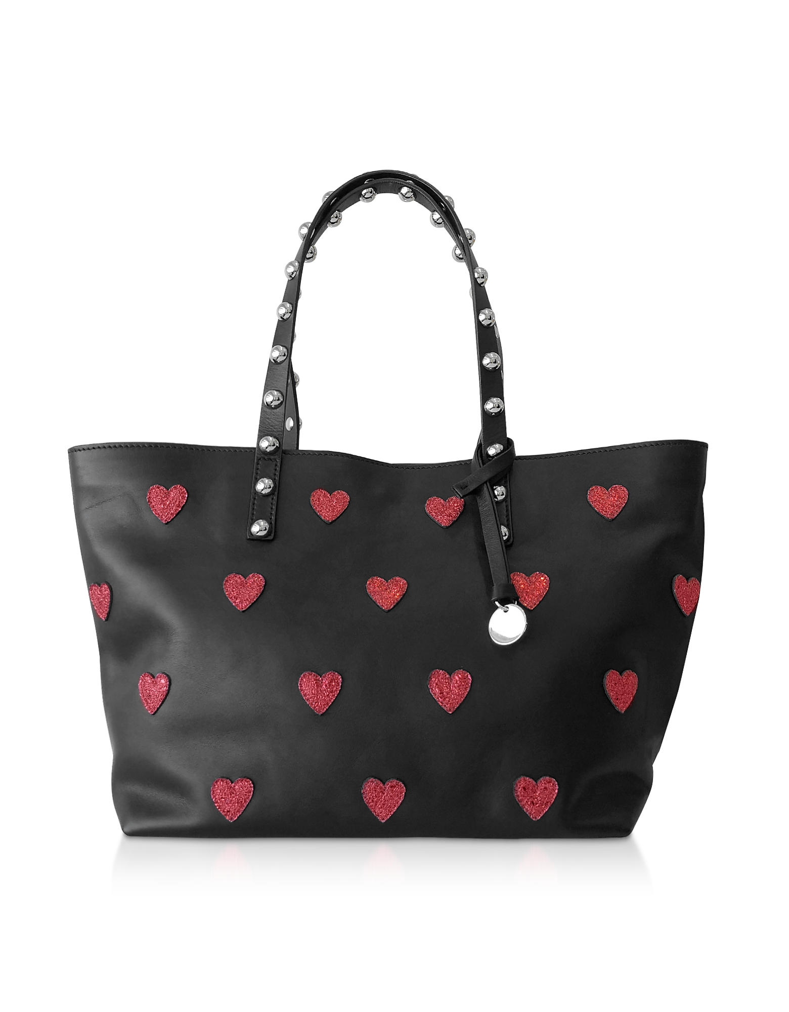 Red Heart Printed Leather Tote Bag