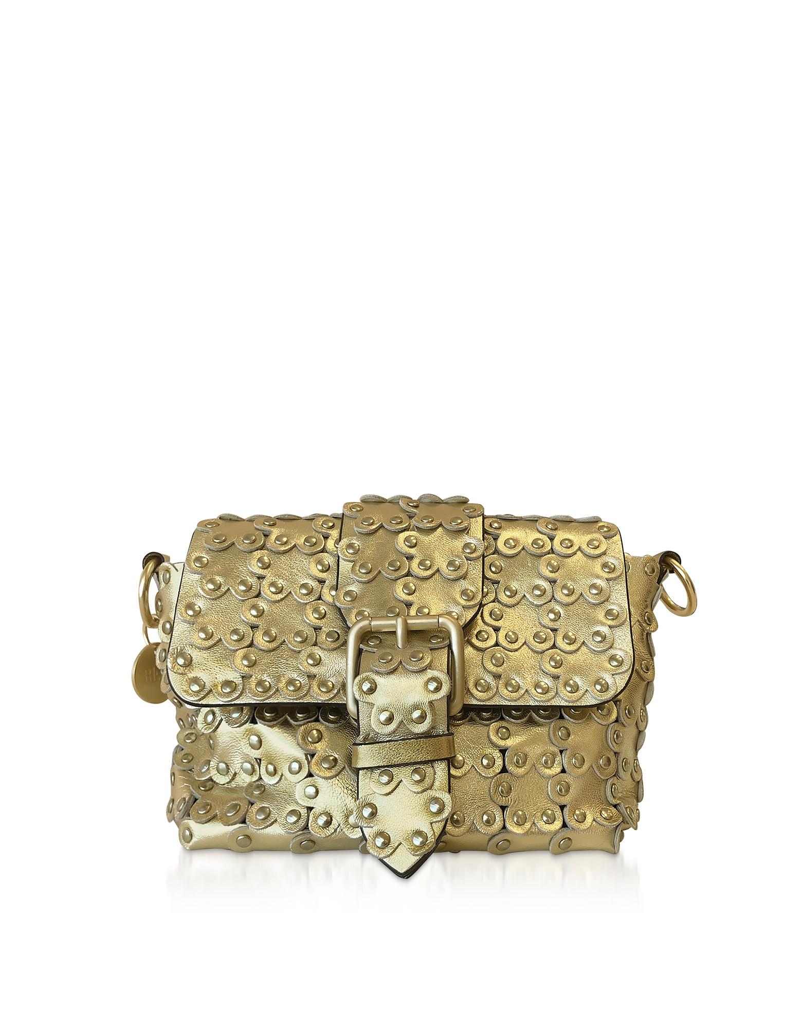 Flower Puzzle Golden Leather Shoulder Bag
