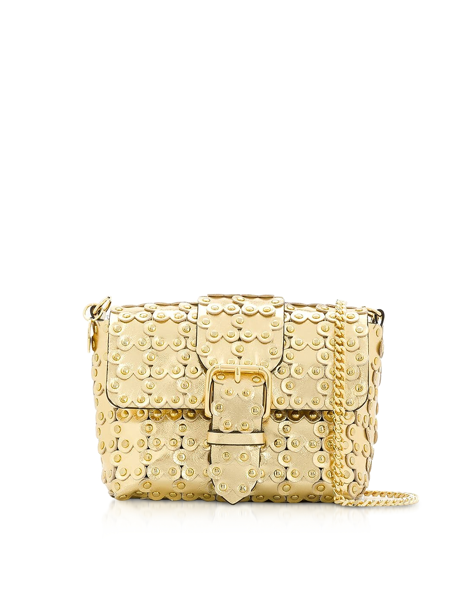Flower Puzzle Golden Leather Crossbody Bag