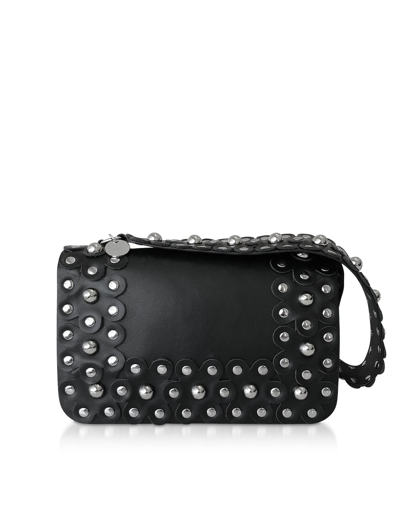 Flower Puzzle Black Leather Shoulder Bag