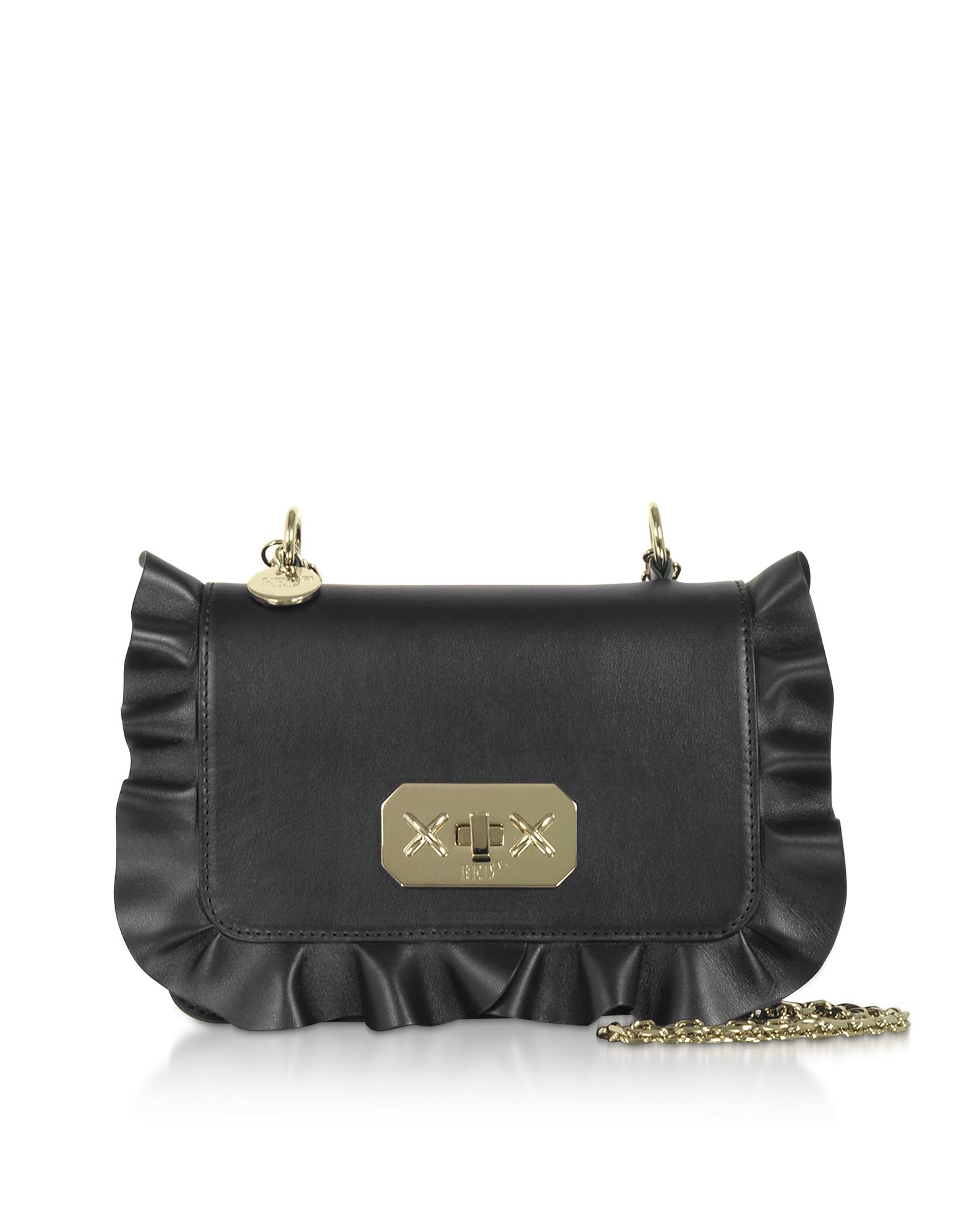 Rock Ruffles Shoulder Bag w/ Gold Chain Strap
