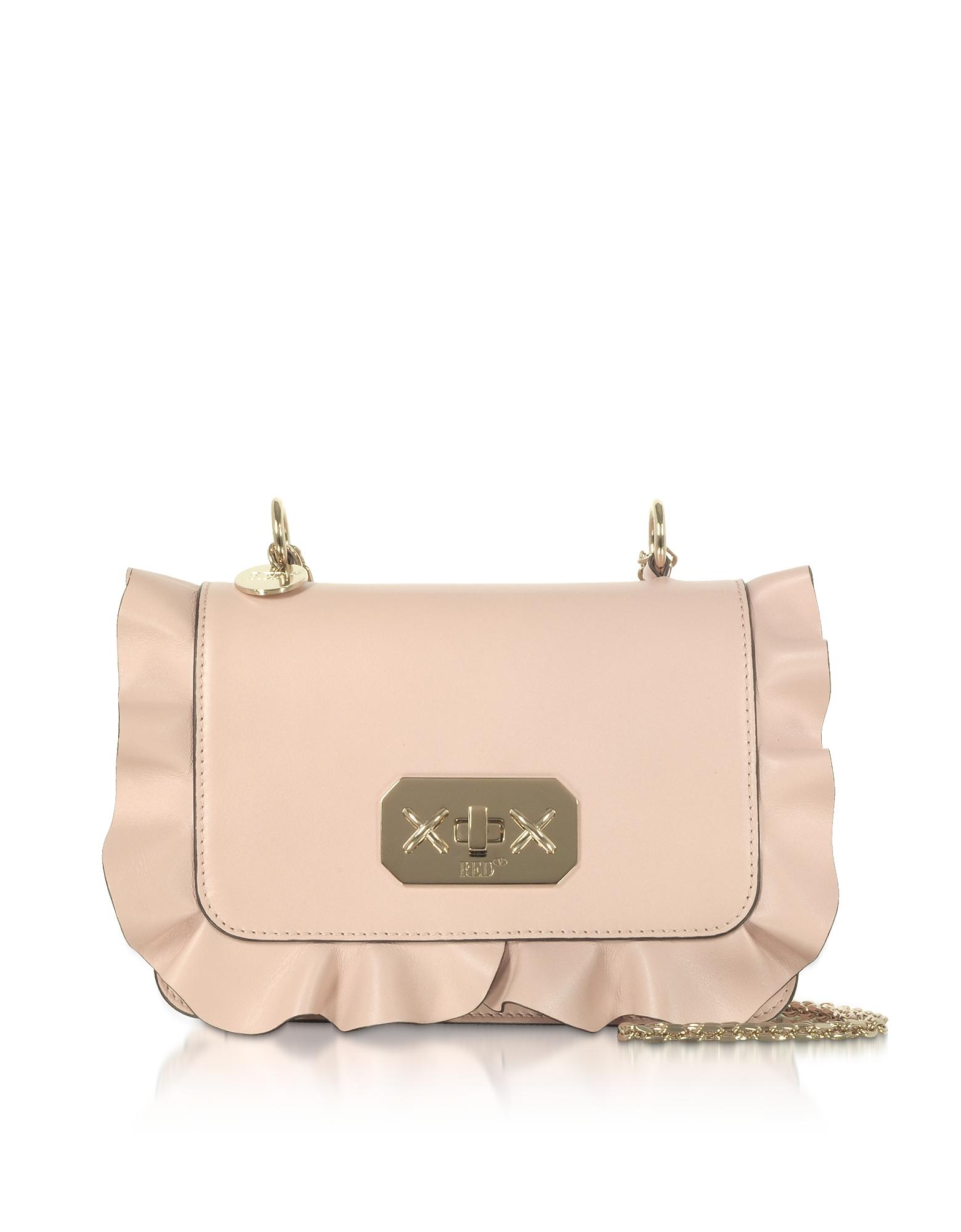 Rock Ruffles Shoulder Bag w/ Gold Chain Strap, Nude