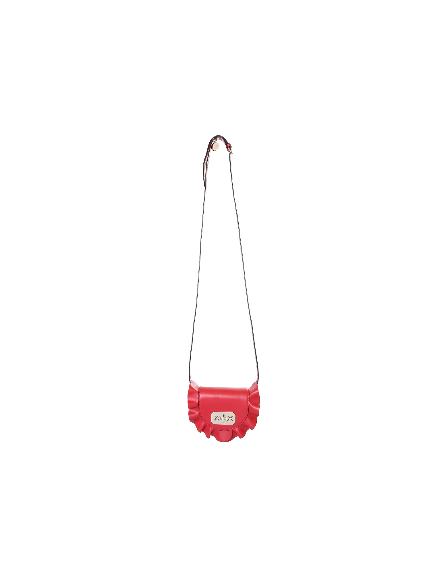 RED Valentino Designer Handbags, Rock Ruffles Red Leather Crossbody/Belt Bag