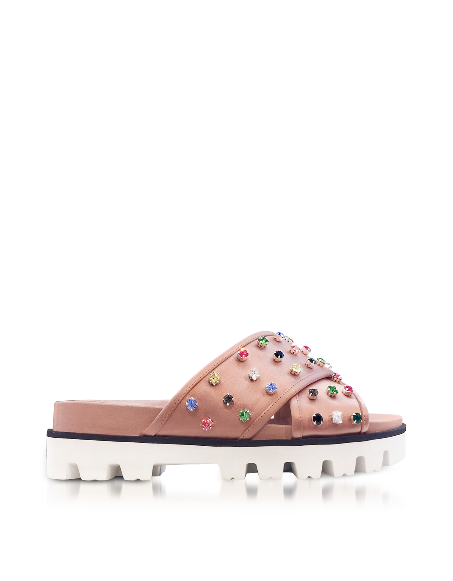 RED Valentino Shoes, Cammeo Canvas Slide Sandals w/Crystals