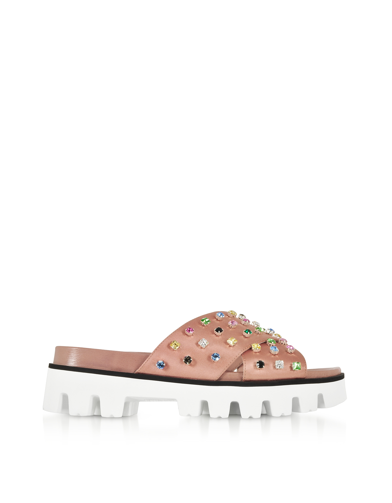 RED Valentino Shoes, Cammeo Satin Slide Sandals w/Crystals