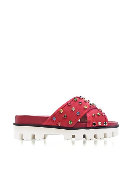 RED VALENTINO Azalea Red Canvas Slide Sandals w Crystals