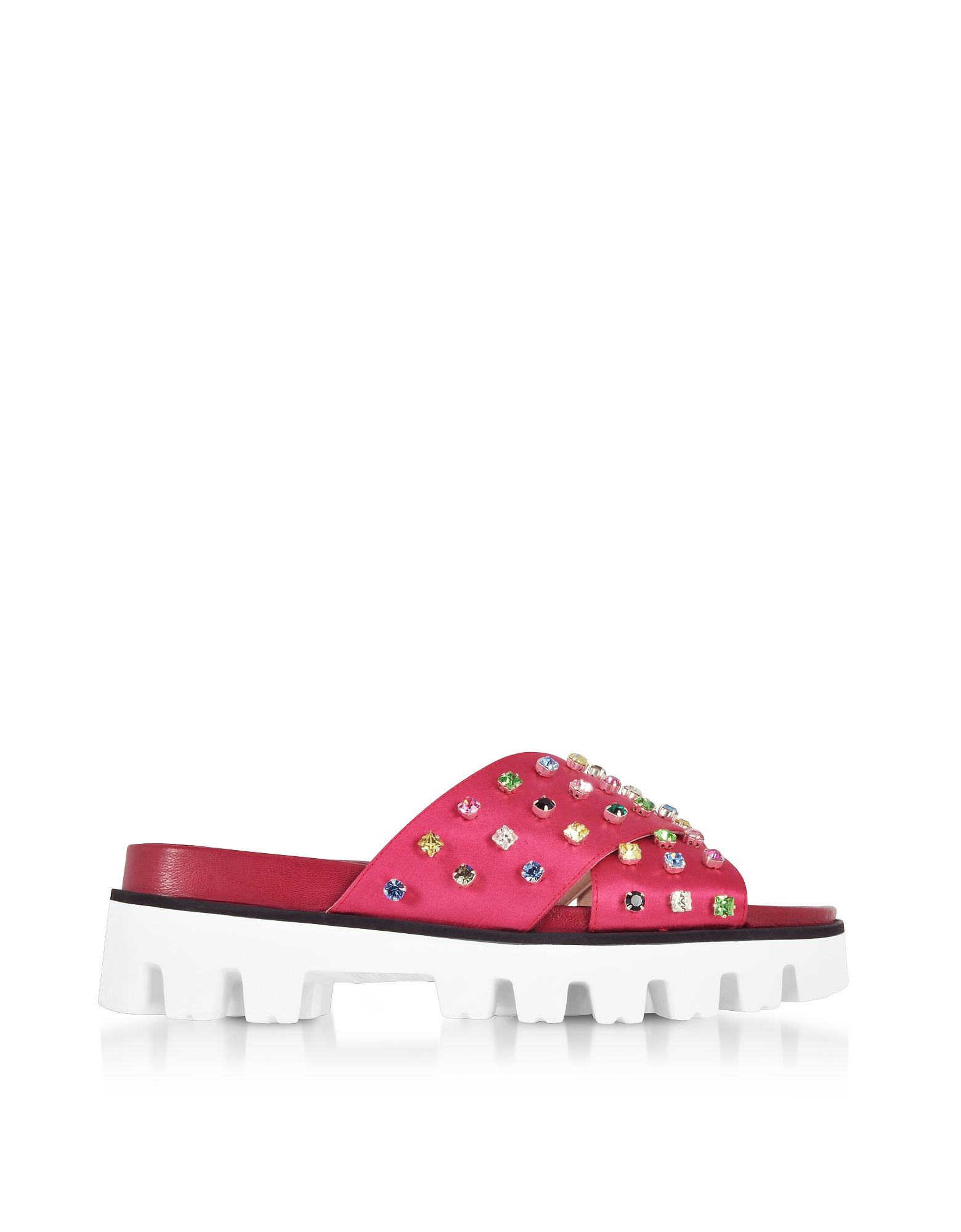 RED Valentino Shoes, Azalea Canvas Slide Sandals w/Crystals