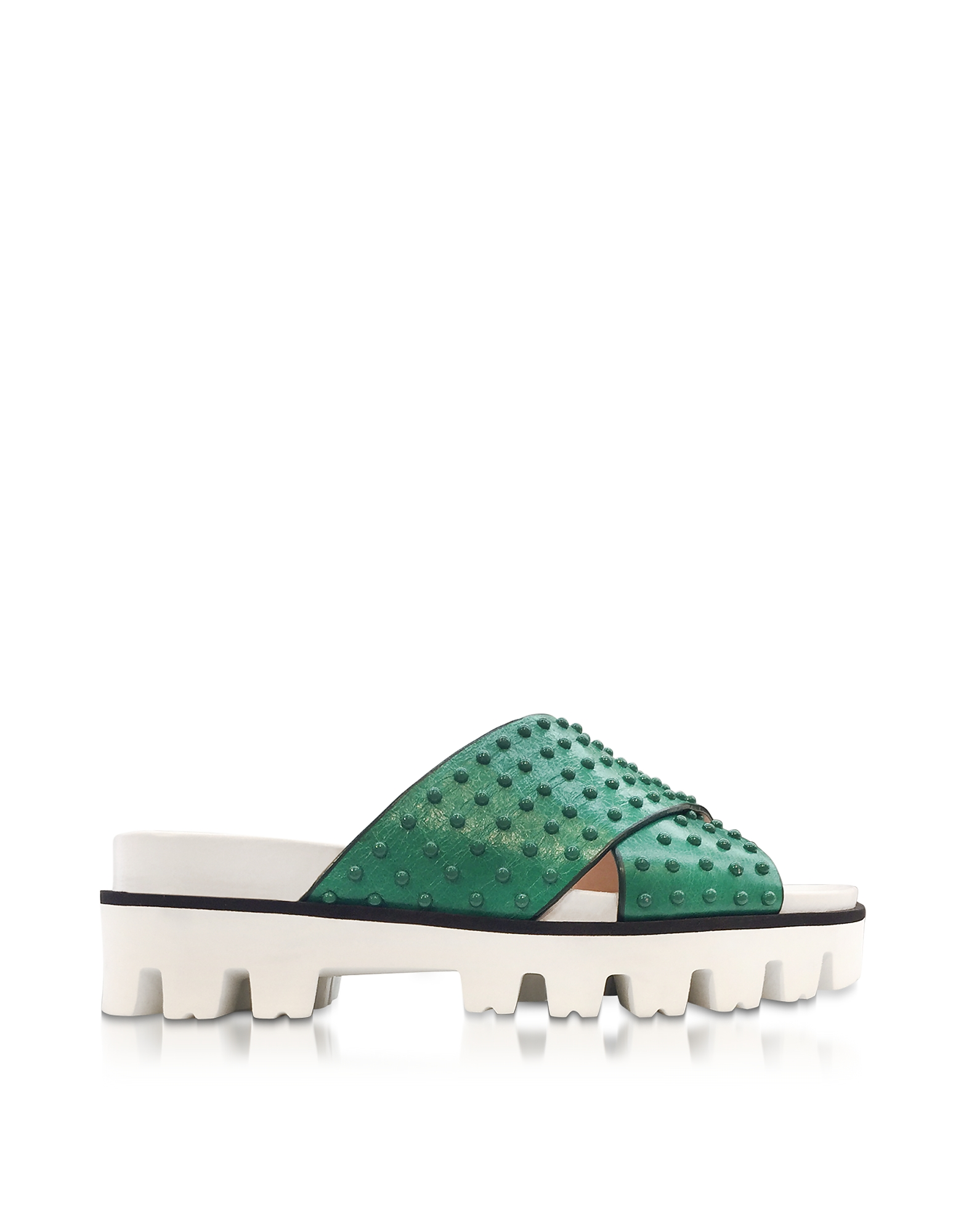 RED Valentino Shoes, Mint Green Leather Slide Sandals w/Studs