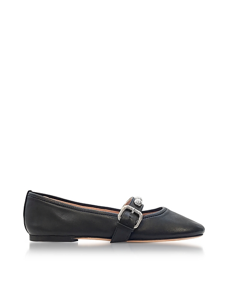 RED VALENTINO Black Leather Flat Ballerinas w Buckle and Studs