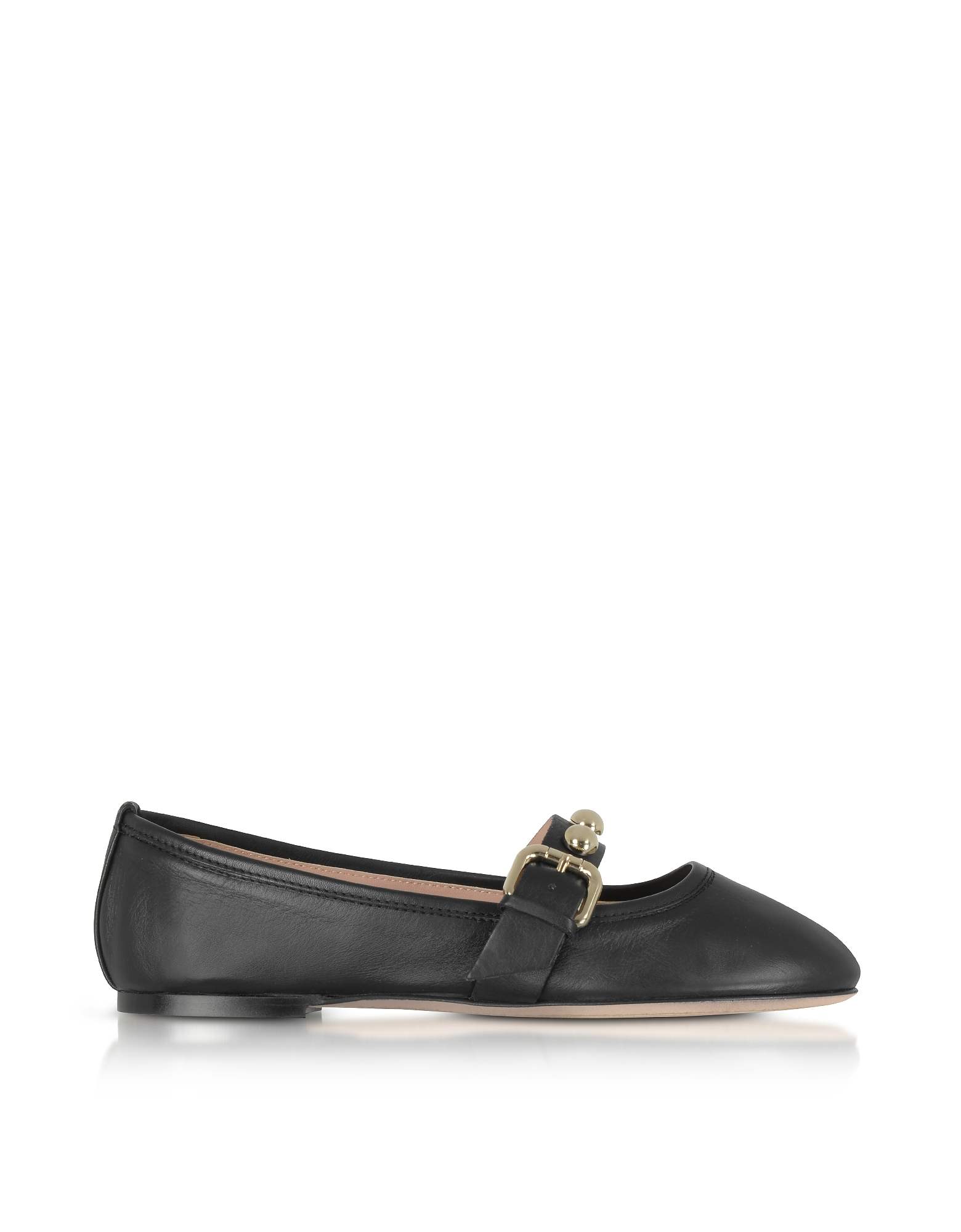 RED Valentino Shoes, Black Leather Flat Ballerinas w/Buckle and Studs