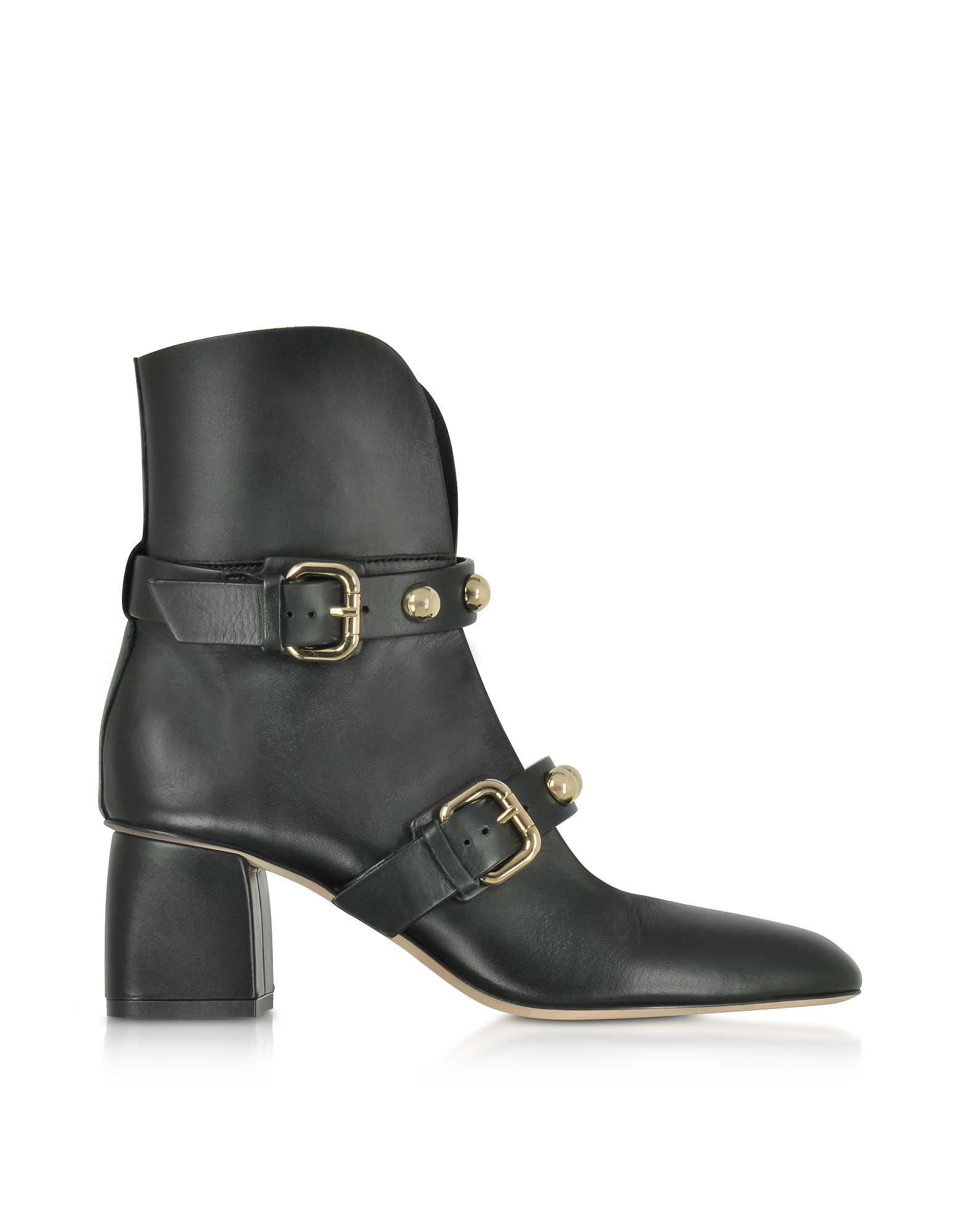 RED Valentino Shoes, Black Leather Heel Booties w/Buckles and Studs