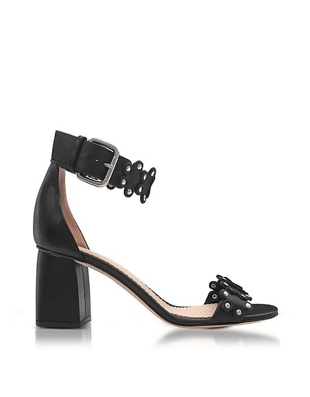 RED VALENTINO Black Studded Leather Heel Sandals