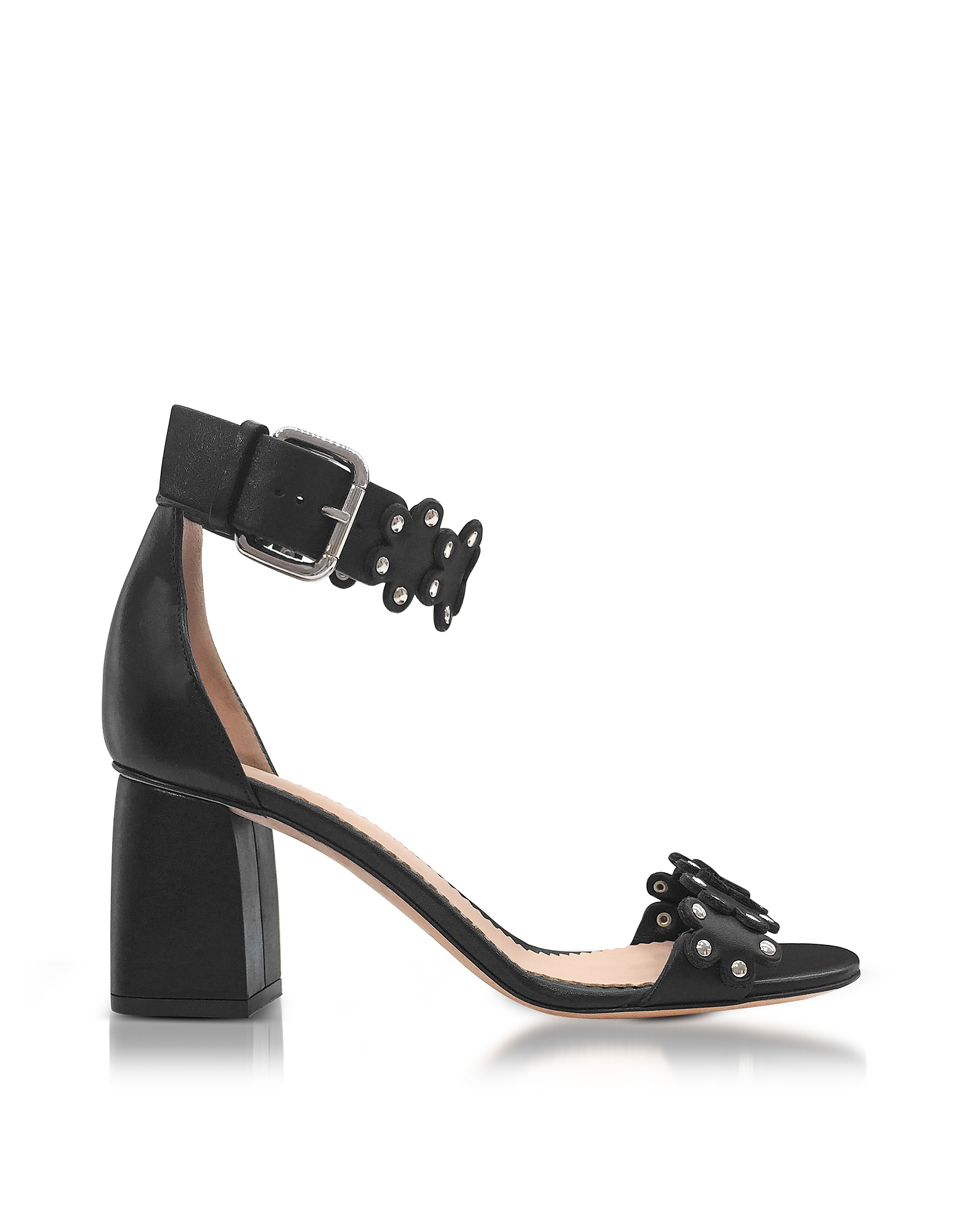 RED Valentino Shoes, Black Studded Leather Heel Sandals