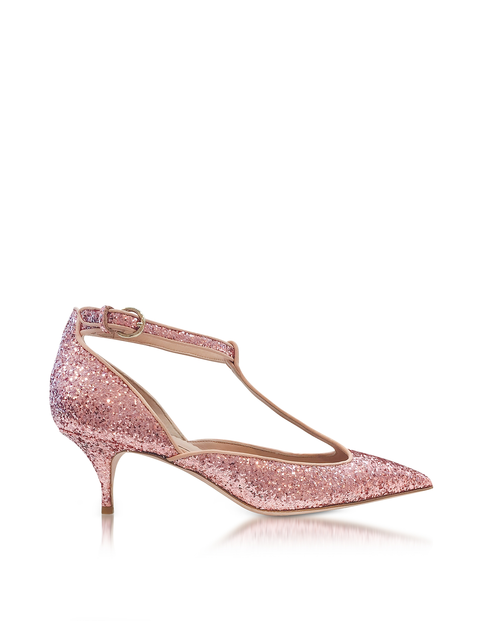 RED Valentino Shoes, Cammeo Glitter and Nude Leather Kitten Heel Pumps
