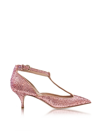 Cammeo Glitter and Nude Leather Kitten Heel Pumps re430118-007-05