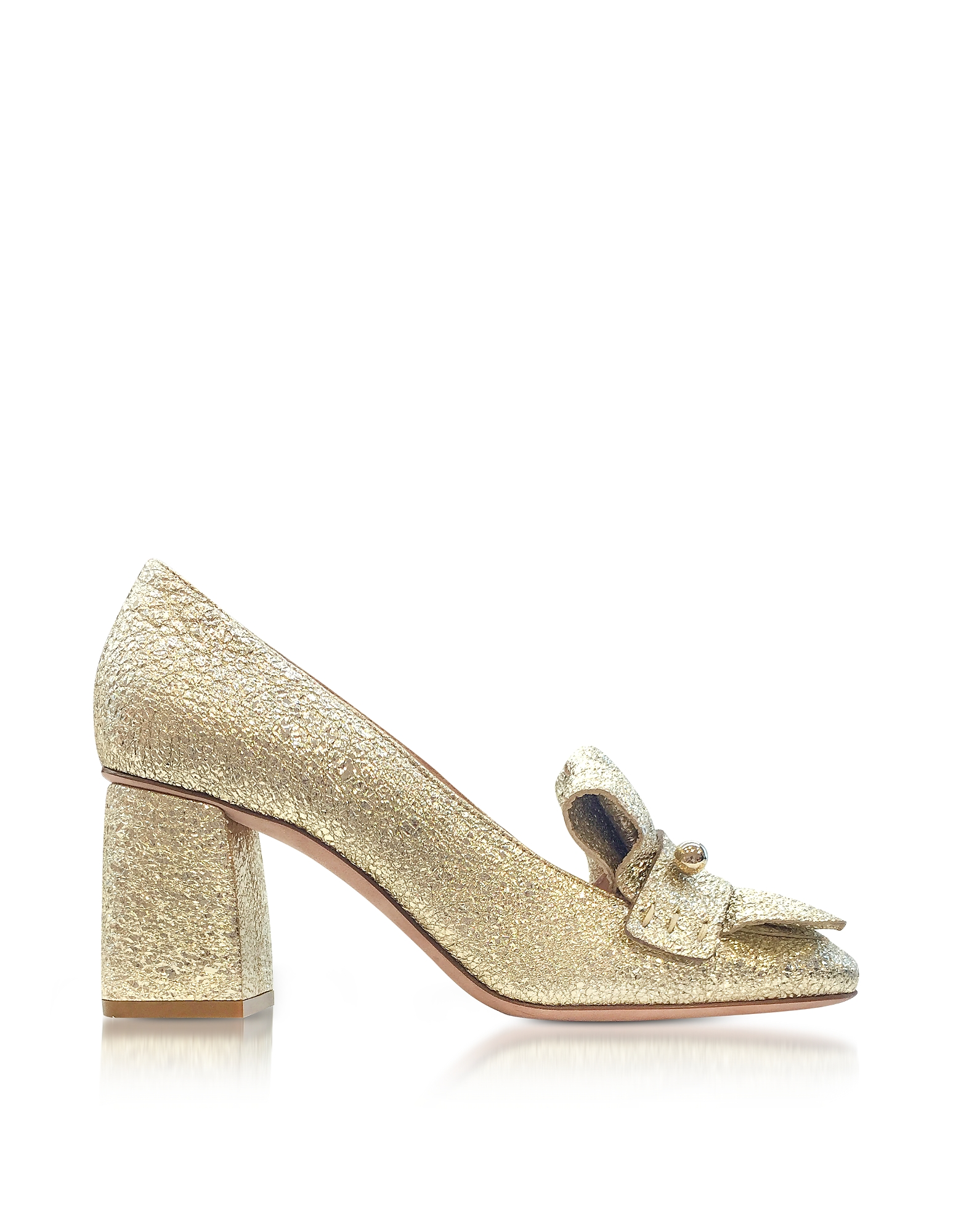 RED Valentino Shoes, Platinum Crackled Metallic Leather Heel Pumps