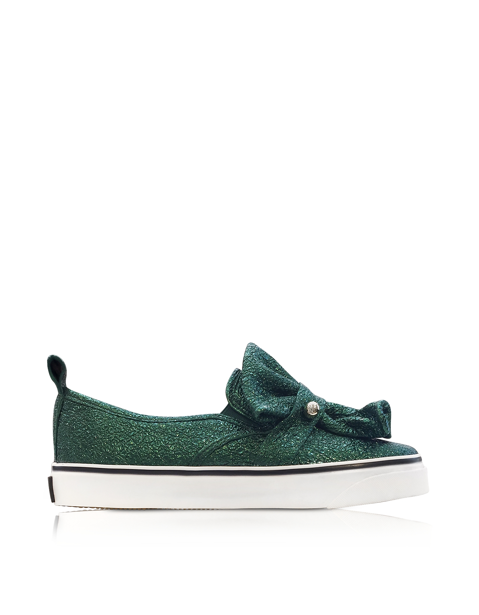 RED Valentino Shoes, Dark Green Crackled Metallic Leather Slip On Sneakers
