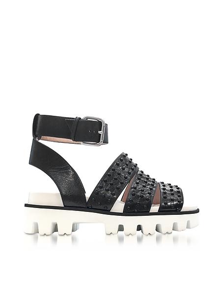 RED VALENTINO Black Leather Flat Sandals w Studs