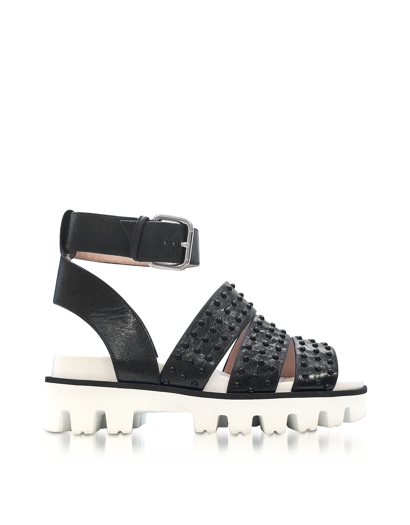 RED Valentino Shoes, Black Leather Flat Sandals w/Studs