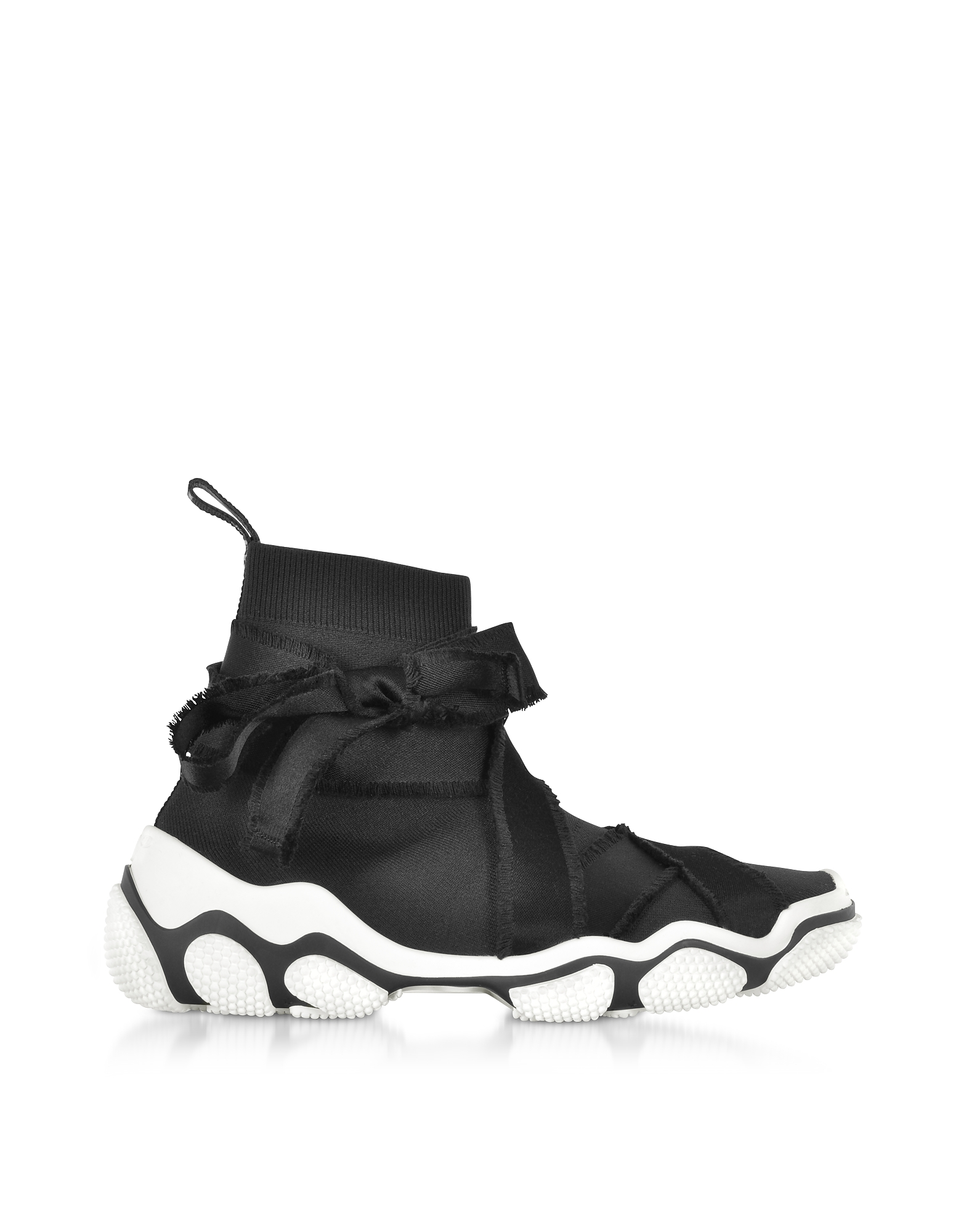 RED Valentino Shoes, Black Nylon High Top Sneakers w/Bow