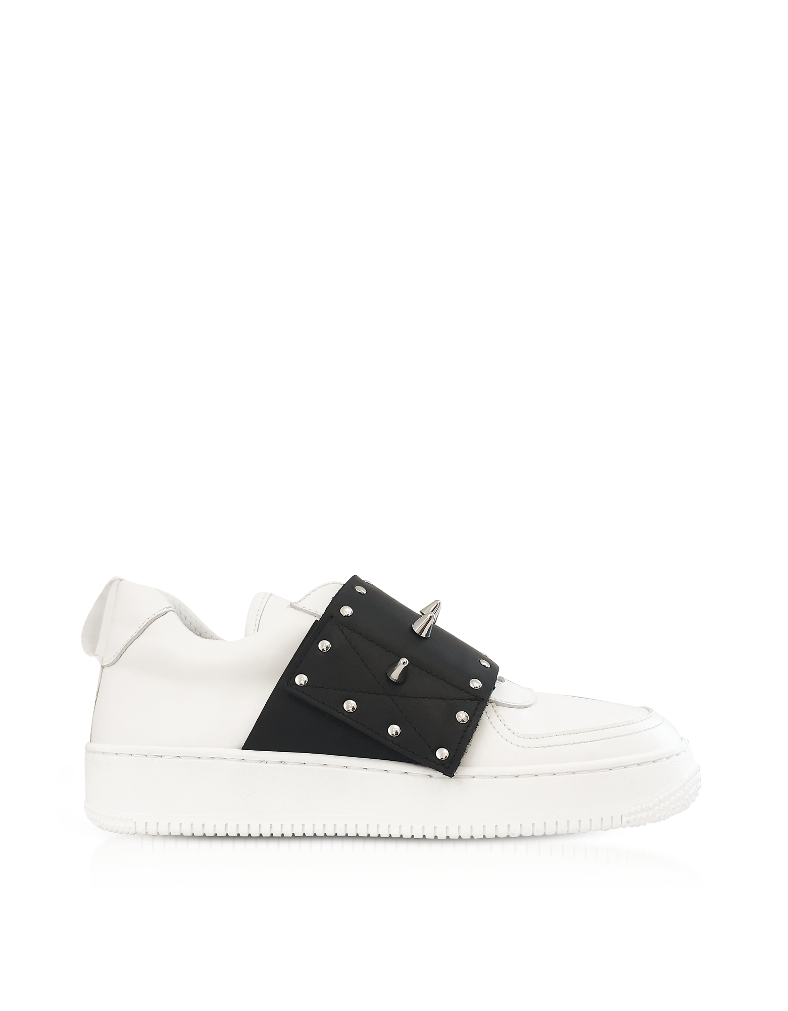 RED Valentino Shoes, White/Black Slip-on Sneakers w/Studs