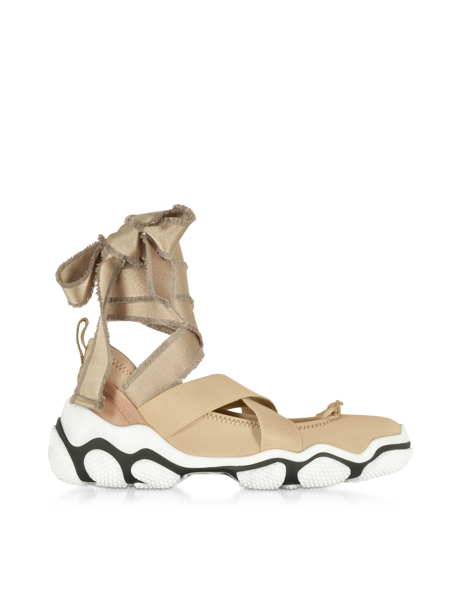 RED Valentino Designer Shoes, Nude Criss Cross Sneakers