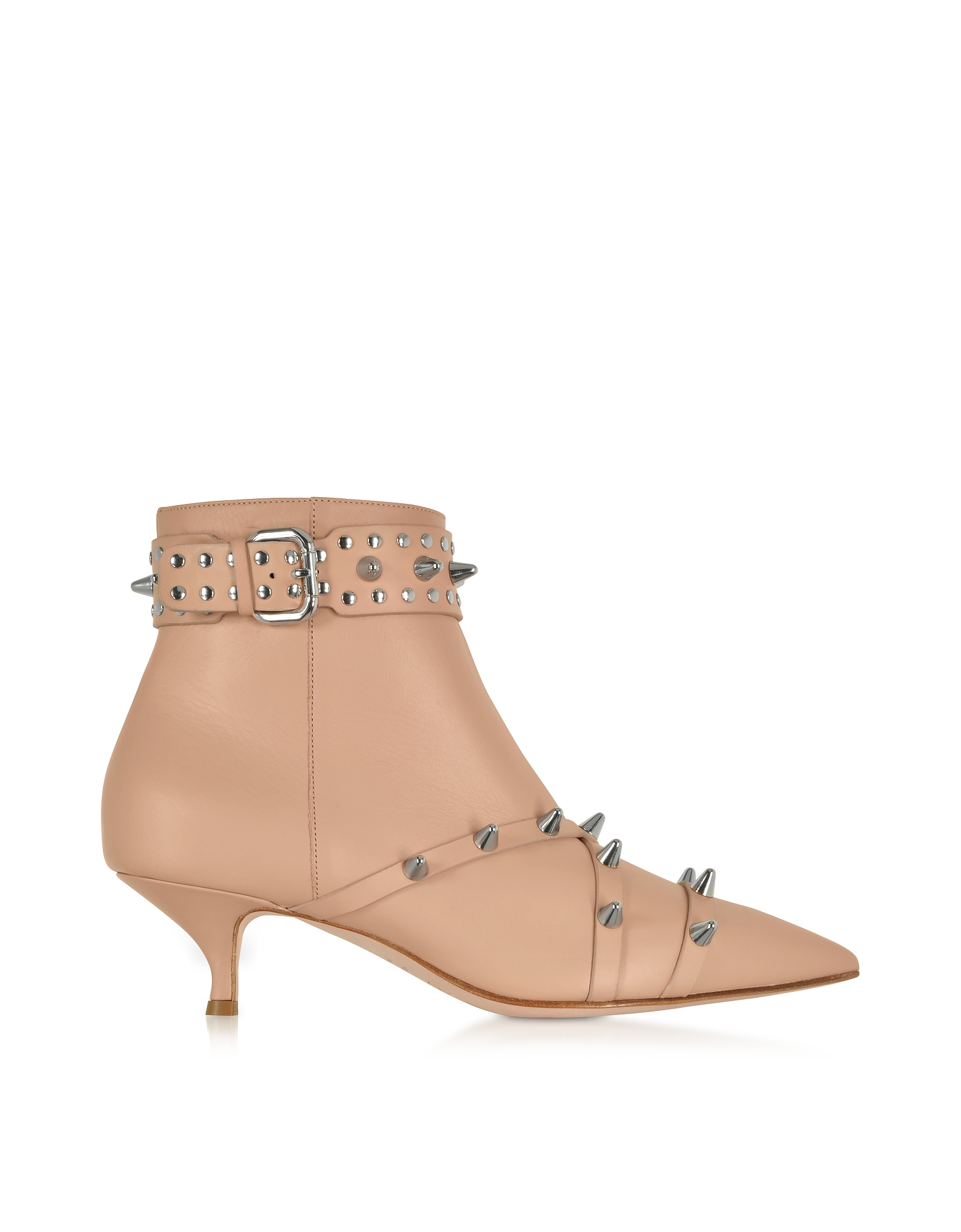 Nude Leather Mid-Heel Ankle Boots