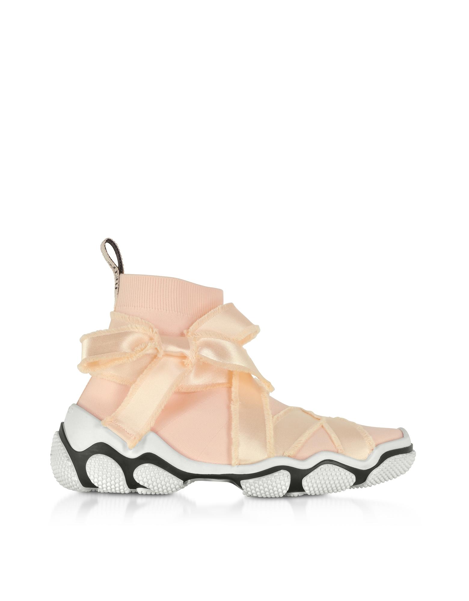RED Valentino Designer Shoes, Petal Pink Nylon Sock Sneakers