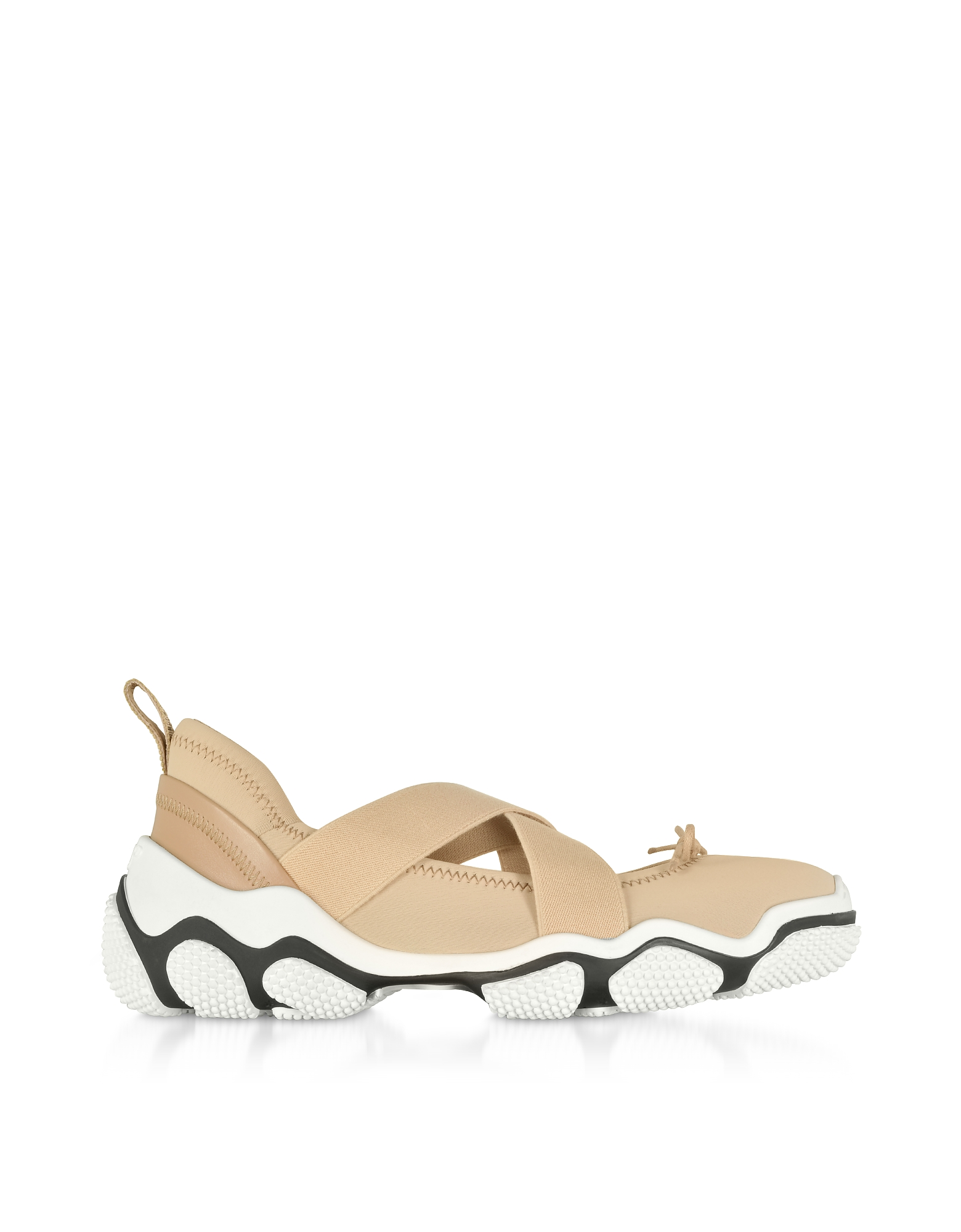 RED Valentino Designer Shoes, Nude Nylon Criss Cross Sneakers