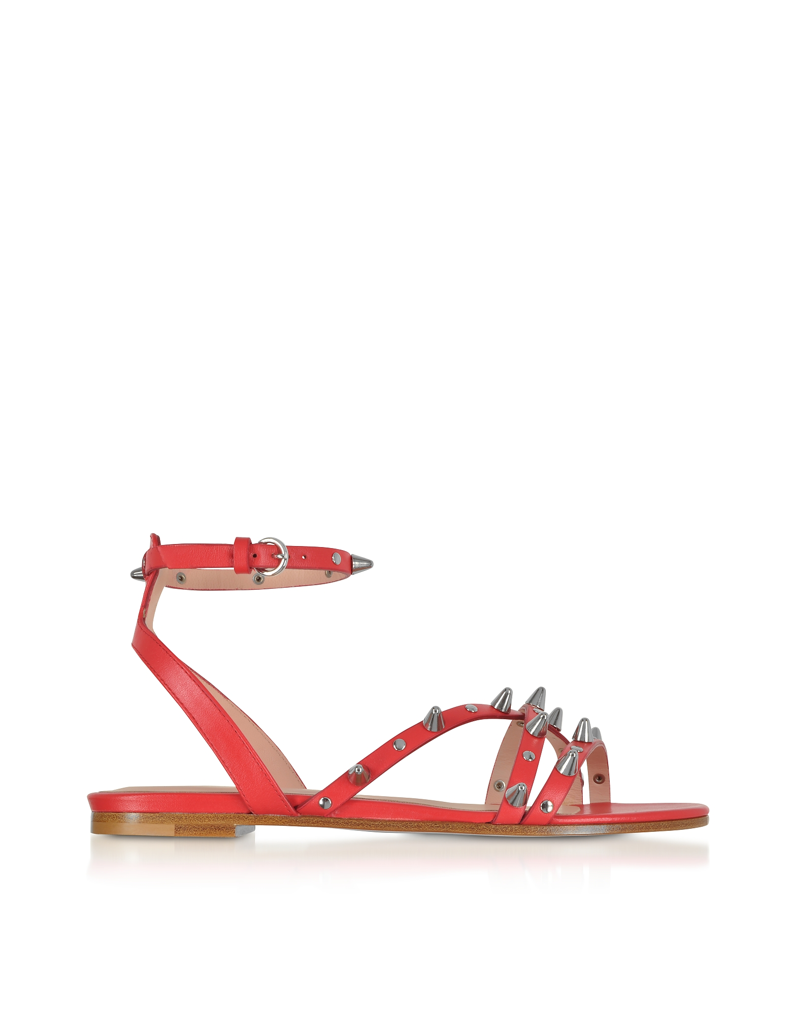 Flame Red Studded Leather Flat Sandals