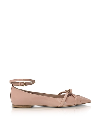 RED Valentino Designer Shoes, Nude Patent Leather Ballerinas re430317-002-00