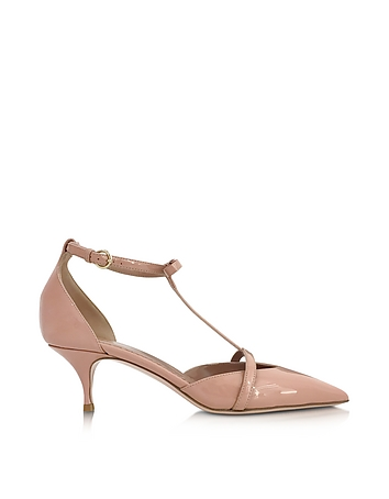 RED Valentino Designer Shoes, Nude Patent Leather Mid Heel Pump re430317-004-00