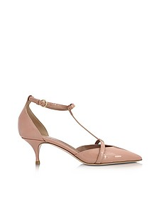 Nude Patent Leather Mid Heel Pump - RED Valentino