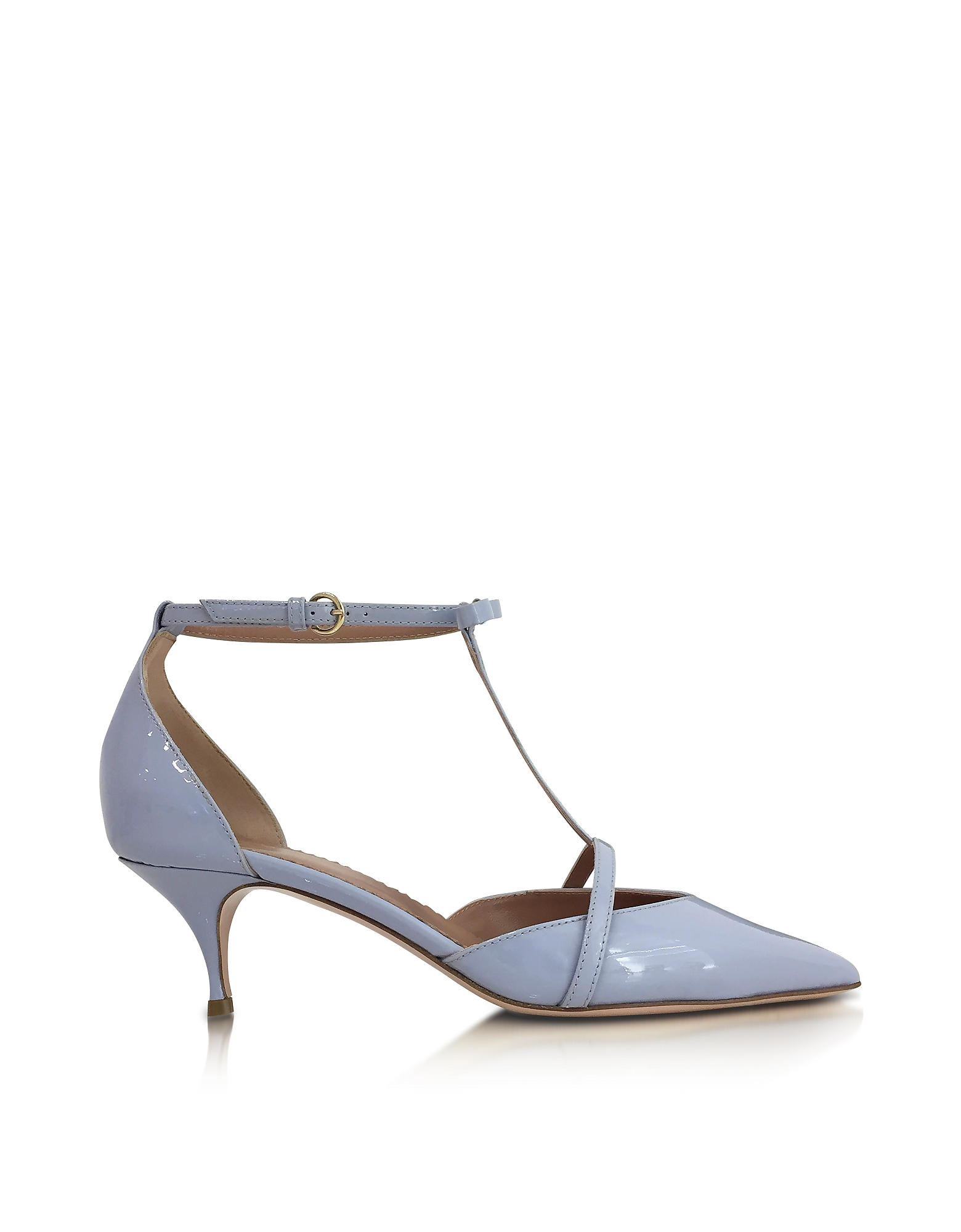 RED Valentino Shoes, Ortensia Blue Patent Leather Mid Heel Pumps