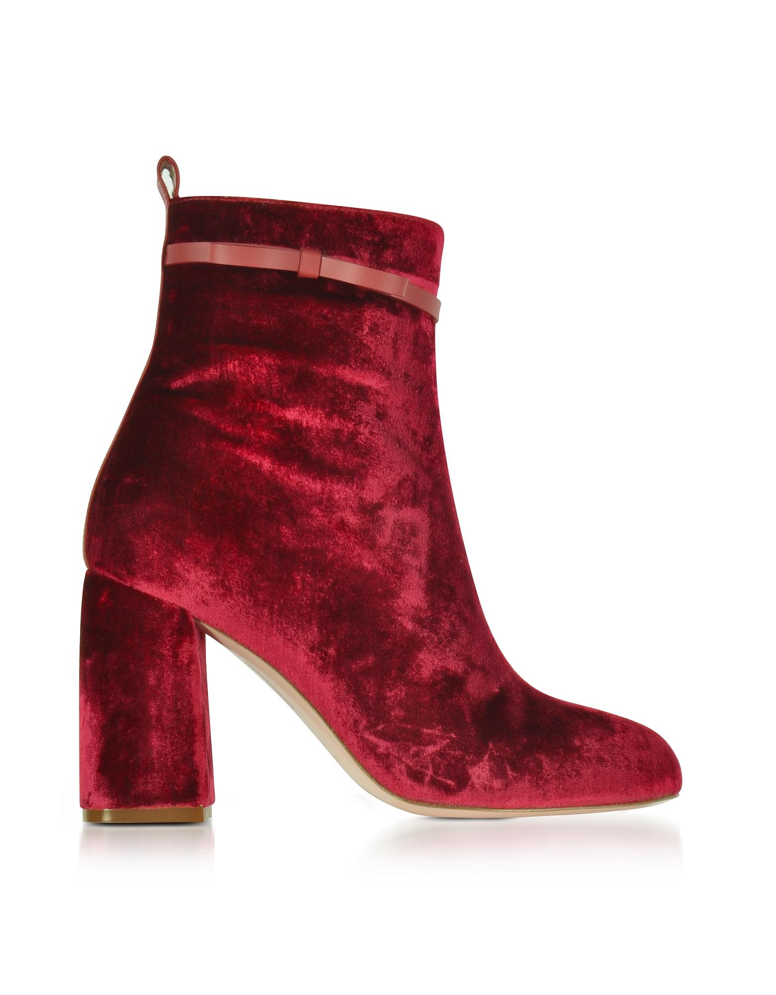 Фото Красные Бархатные Ботинки на Высоком Каблуке. Купить с доставкой