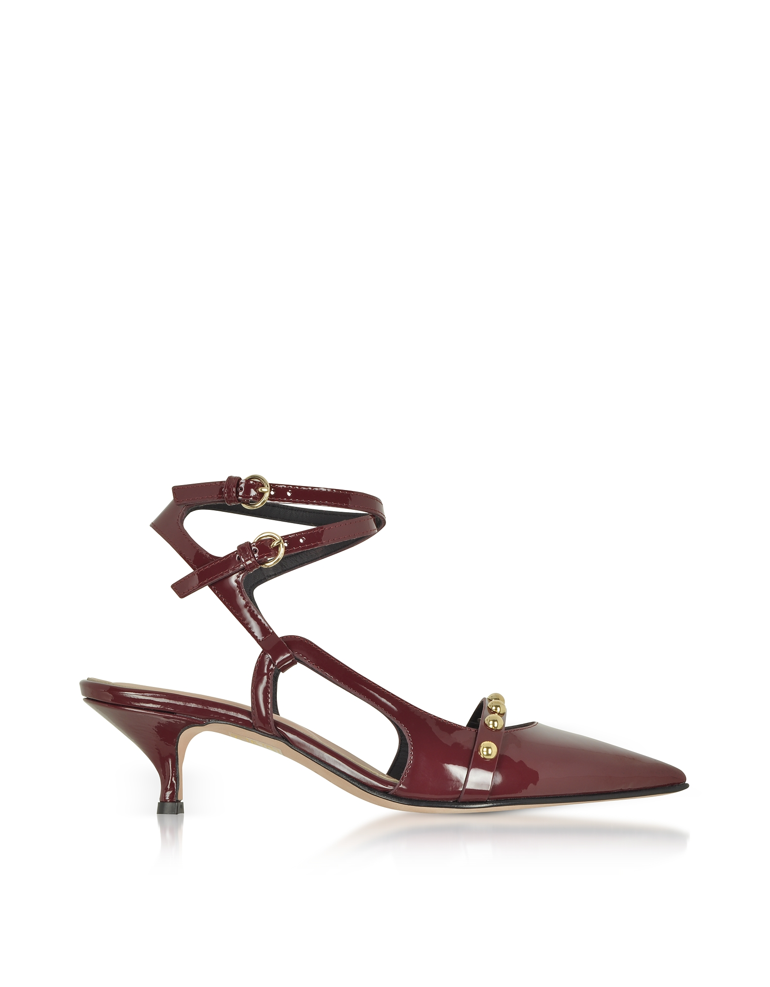 RED Valentino Shoes, Wine Leather Mid-Heel Pumps