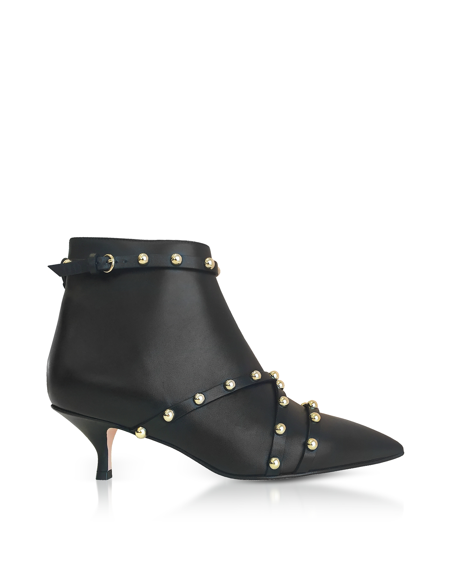 Image of RED Valentino Designer Shoes, Black Leather Ankle Boots