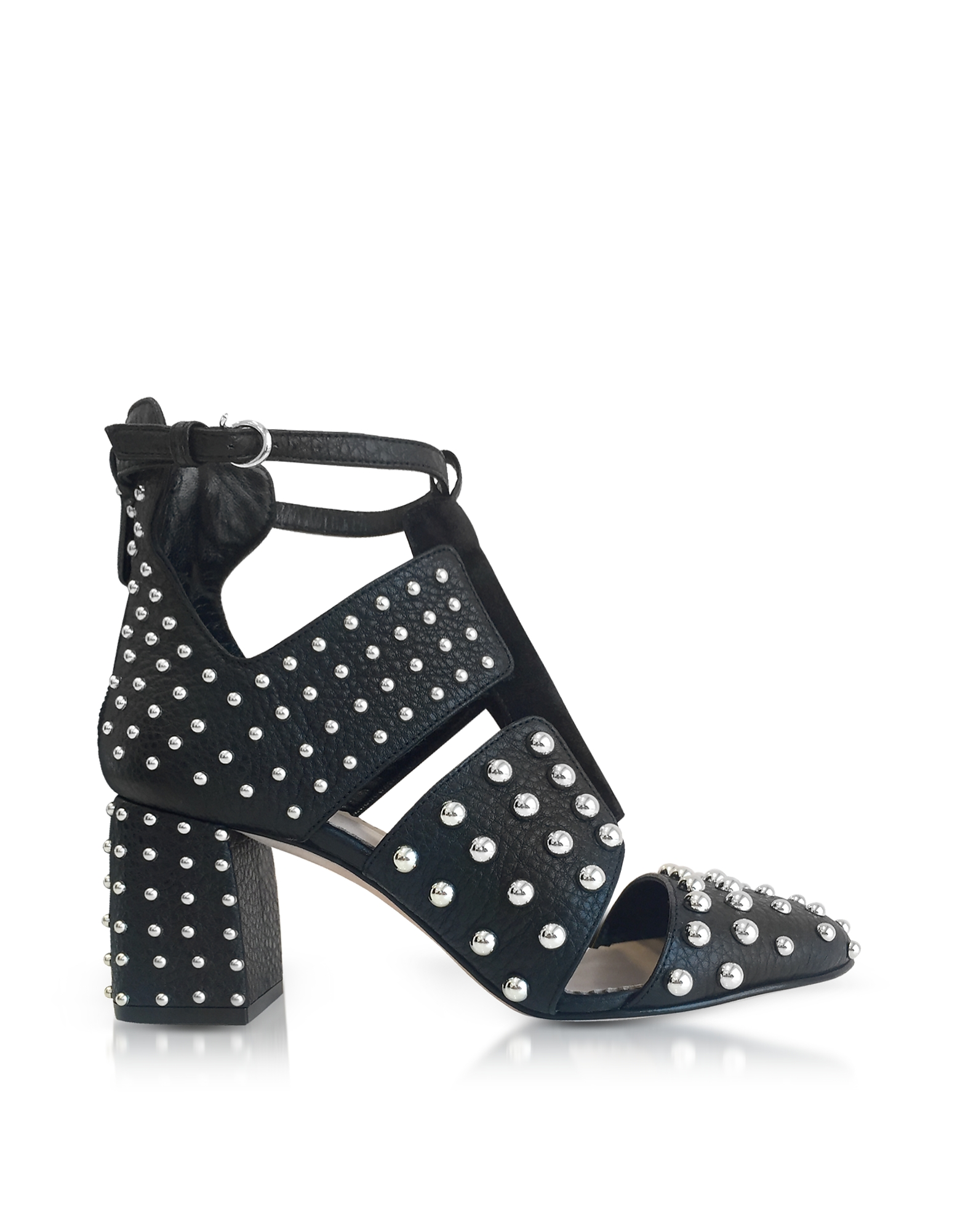 RED Valentino Designer Shoes, Black Leather Studded Boots