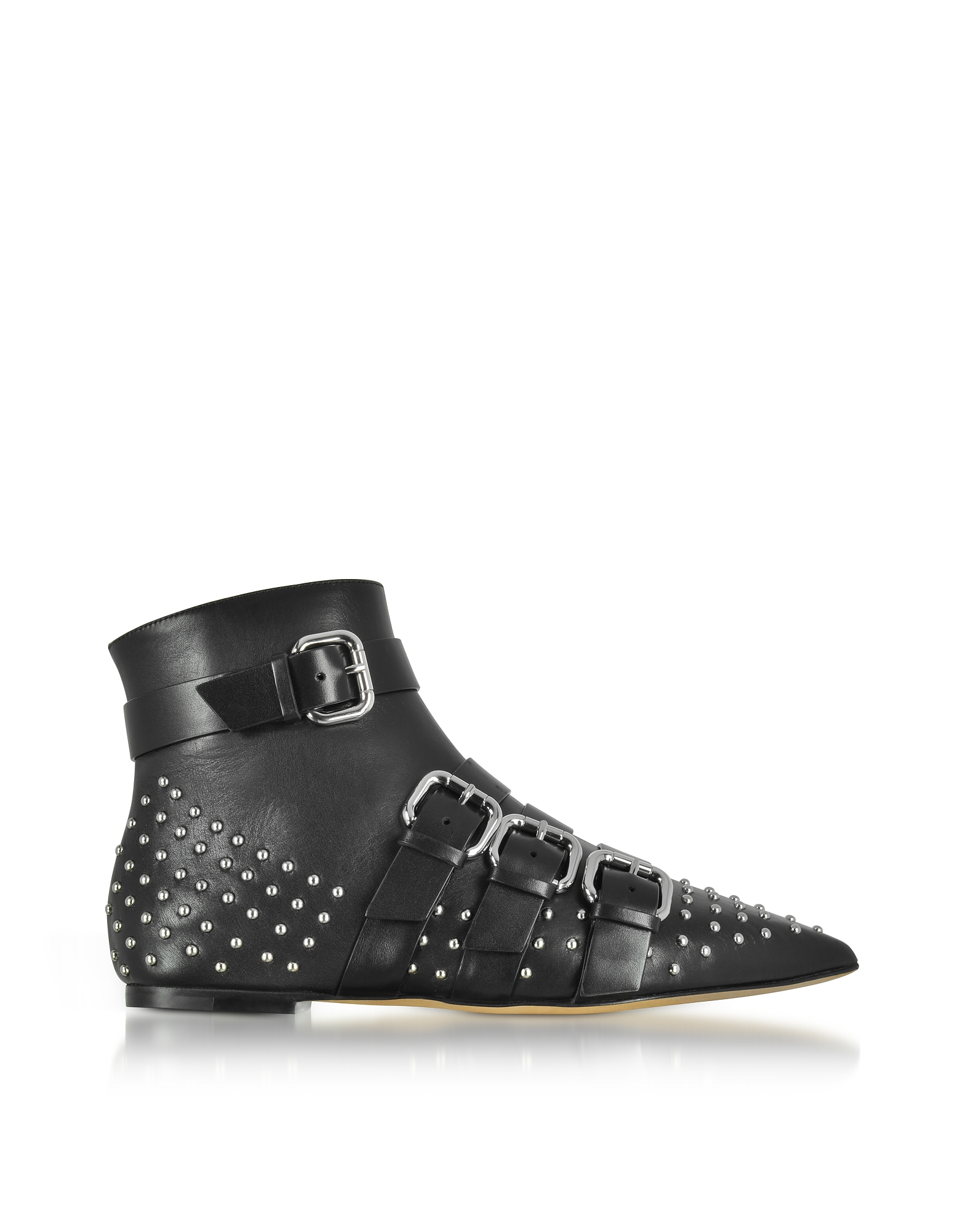 RED Valentino Shoes, Black Leather Pointy Booties w/Buckles and Studs