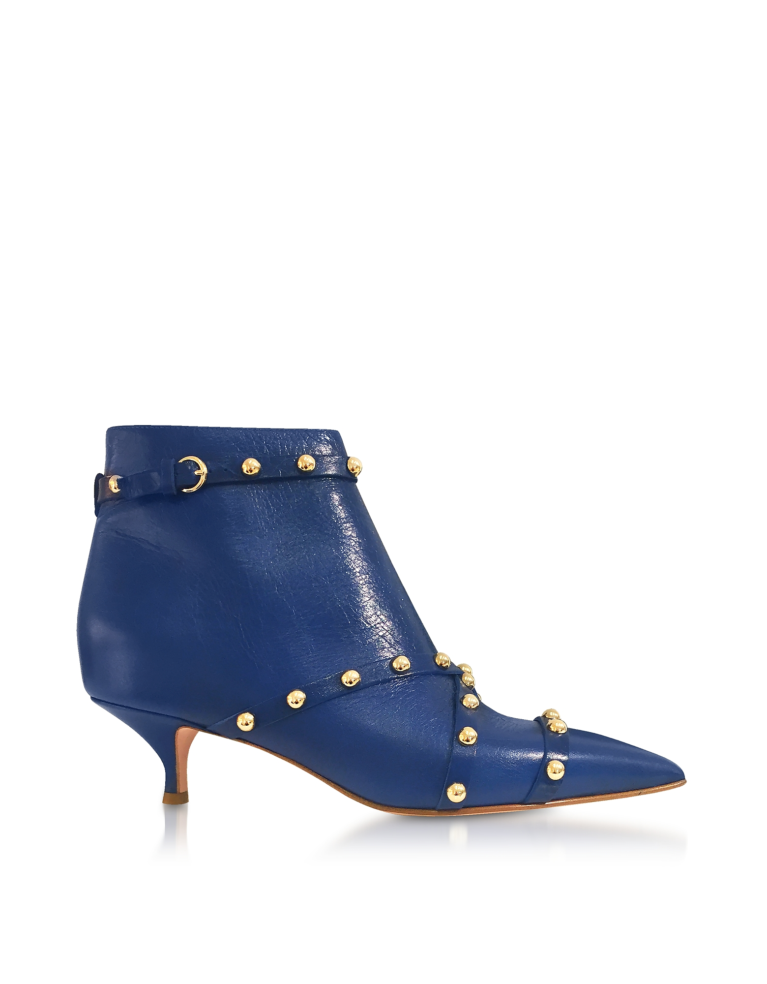 RED Valentino Shoes, Persian Blue Studded Leather Shuffle Booties