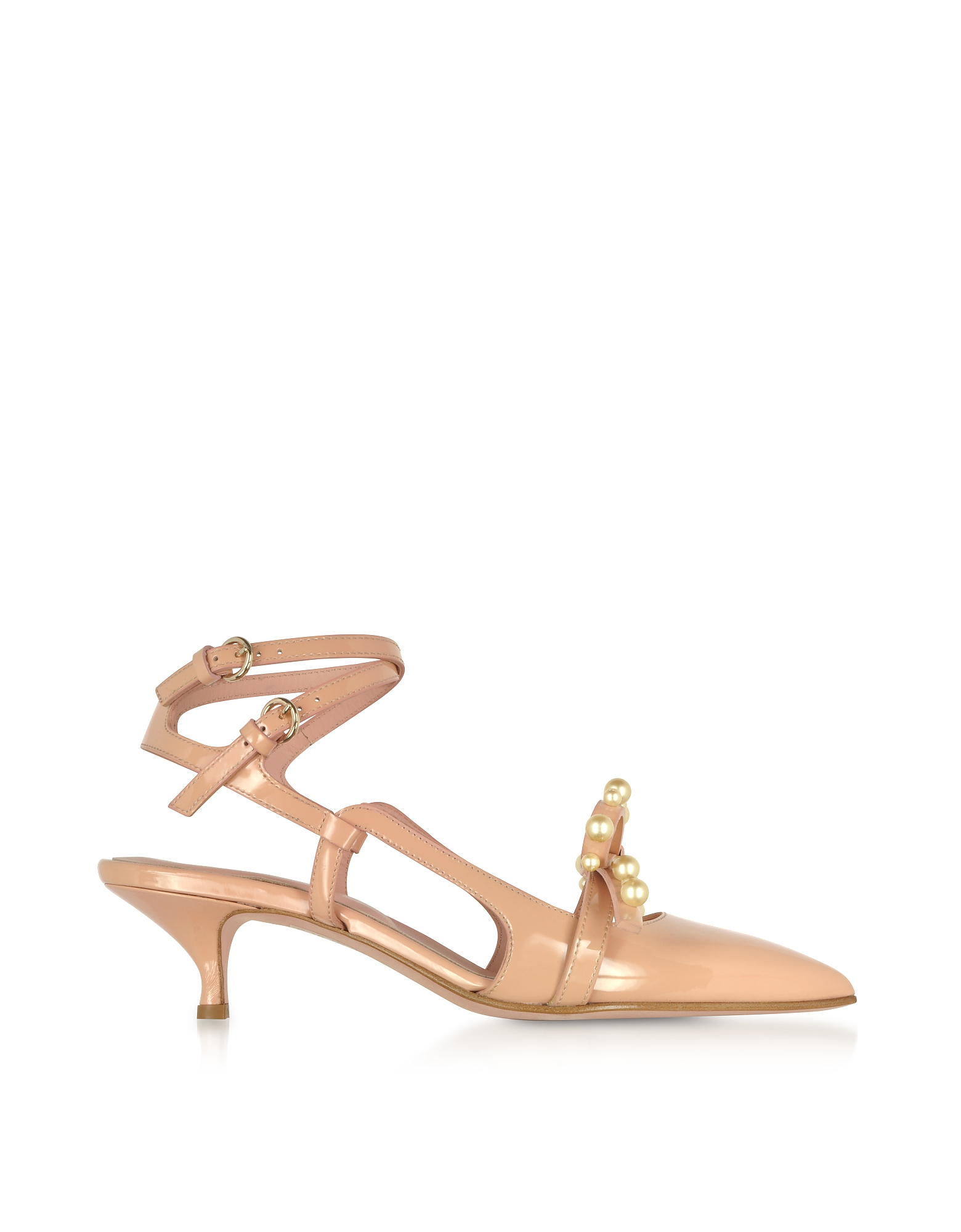 RED Valentino Shoes, Geometric Bow Nude Patent Leather Slingback Shoes
