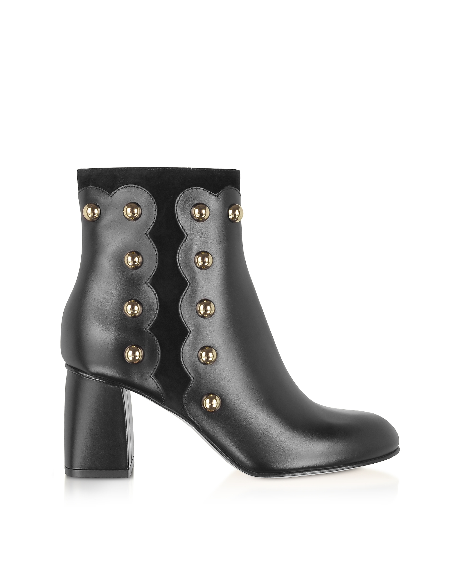 Black Leather and Suede Studded Boots