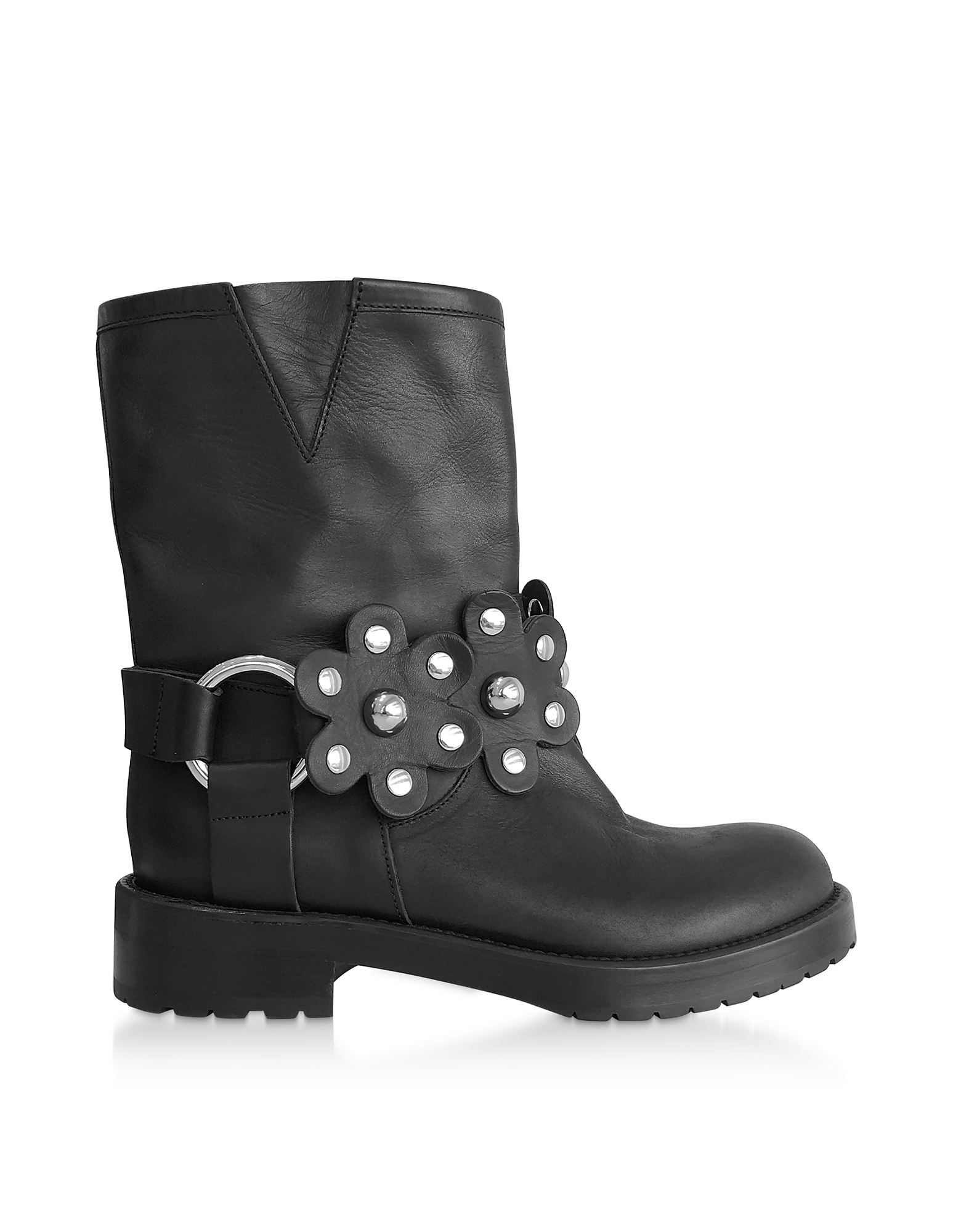 RED Valentino Designer Shoes, Black Leather Studded Biker Boots