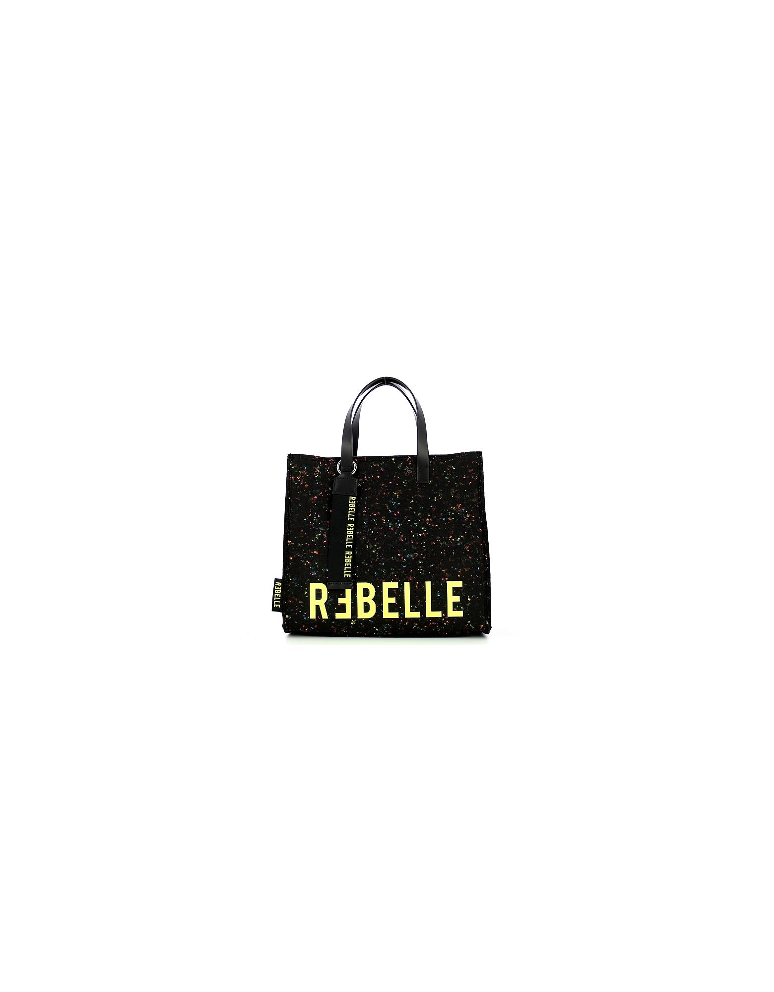 REBELLE Designer Handbags, Women's Black Bag